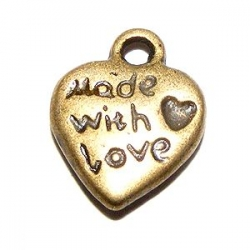 Breloque coeur Made With Love Bronze
