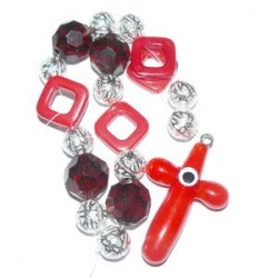 Assortiment de perles rouge et blanc