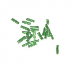 Rocaille Tube Silver line 6mm Green