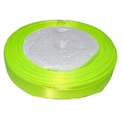 Ruban satin 12mm de largeur Jaune Fluo